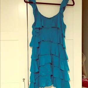 Express blue ruffle mini dress